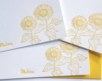 Personalized Letterpress Sunflowers Stationery Honey Gold