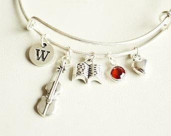 Violin Gift, Violin Bracelet, Violin Jewelry, Gift for Violinist, Violinist Player gift, Violin Bangle, Violin Player , Personalized gift