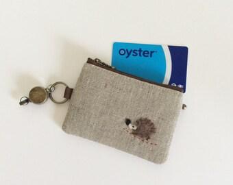 Travel pass case (linen with a hedgehog applique)