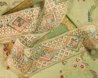 """1.9 yards antique flapper cotton art deco lace polychrome trim ecur pink green blue 3.25"""" wide flowers  dainty  edge dolls rosette trim lace"""