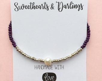 Purple, silver and pearl bead bracelet