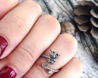 Silver brass owl ring - adjustable