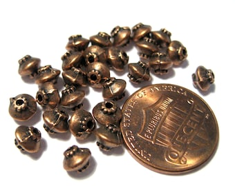 30pcs Antique Copper Spacer Beads 4x5mm