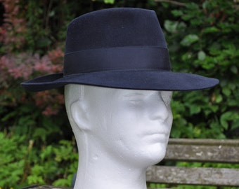 Vintage Navy Blue Fur Felt Hat Cowboy/Gambler by World Originals