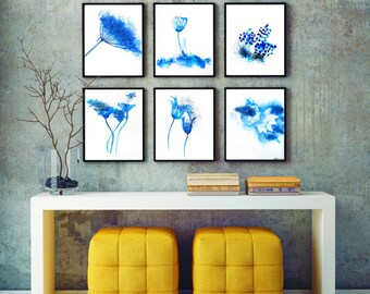 Abstract Watercolor set of 6 prints, wall art, flower watercolor painting, abstract watercolor prints FREE SHIPPING