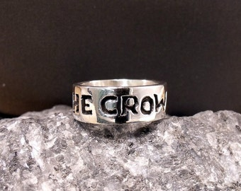 The Crow Mens Sterling Silver Band RF180b
