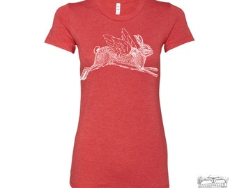 Womens Winged RABBIT T-Shirt -hand screen printed s m l xl xxl (+ Colors Available) custom custom