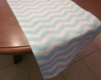 Aqua Chevron Table Runner, Wedding, Bridal Shower, Baby Shower, Graduation, Birthday