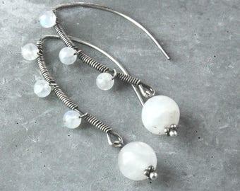 White Moonstone Earrings Oxidized Sterling Silver June Birthstone Earrings Gemstone Jewelry Gem Stone Jewelry Gift For Her Healing Stone