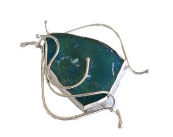 Roman Glass Brooch, Boho Chic Silver Brooch, Boho Sterling Silver Brooch, Roman Glass Fantasy Pin, OOAK Artisan Jewelry, Made in Israel