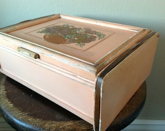 Vintage Wooden Chippy Box Hinged with Mirror in Sweet Vintage Salmon
