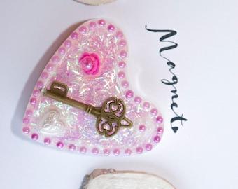 Heart, magnet, fridge magnet, vintage, Rose, key