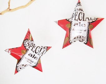 ESB Special Ale Beer Stars Ornaments Aluminum Can Upcycled