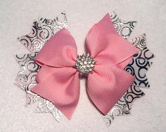 Pink and White Hair Bow - 4.5 inch Stacked Boutique Pinwheel Hair Bow with Foil Ribbon and Star Rhinestone Center on Partially Lined Clip