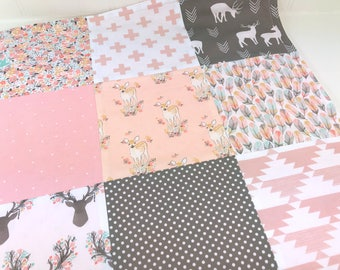 Woodland, Baby Shower Gift, Security Blanket, 18 x 18 inches, Lovey, Baby Girl, Minky Baby Blanket, Baby Gift, Blush, Pink, Gray, Deer