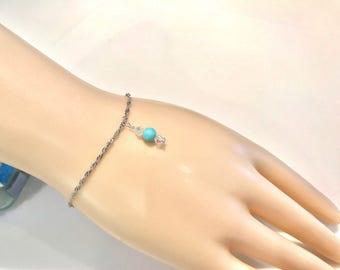 Opal Bracelet, Sterling Silver Bracelet Silver and Opal Bracelet, Silver Bracelet, Charm Bracelet, Peruvian Blue Opal,