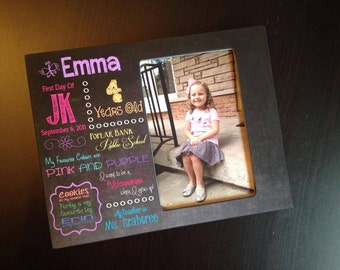 First Day of School Sign Chalkboard Style Frame Kindergarten Frame School Gift Favorite Things Personalized Wood 4x6 Picture Frame Keepsake
