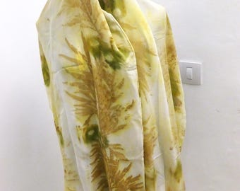 Eco print, silk scarf printed with leaves, natural color, crep de chine, silk scarf long,silk shawl, gift for mom, gift for grandma