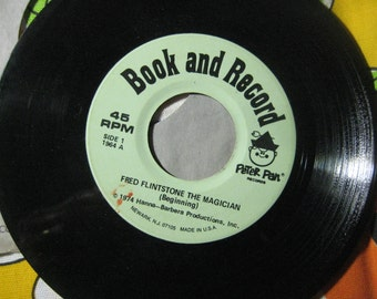Vintage Fred Flintstone 45 vinyl record, Peter Pan Records, Hanna-Barbera Productions, 1964