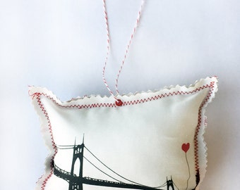 St. John's Bridge Portland Oregon Fabric Ornament