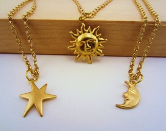 3 best friend necklace. Sun, moon, stars best friend set. Gold charm necklaces. Best friend gift. Celestial jewelry. Friendship necklace.