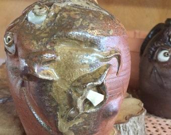 Face Jug/handmade/folk art/pottery