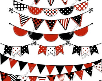 Black Red Bunting Clip Art Set - printable digital clipart - instant download