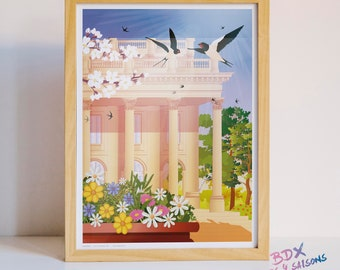 Poster illustrated Bordeaux in spring