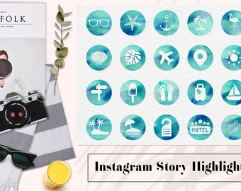 Travel Instagram Story Highlights, Watercolor Instagram Icons, Watercolour Highlight Covers, Summer Instagram Content Icons, BUY7FOR10