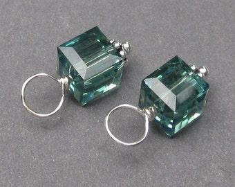 Swarovski Crystal Erinite Cube, Swarovski Birthstone Crystal Charm,  Bead Dangles, Stitch Markers, Interchangeable Earring Components, 6mm