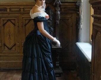 Victorian Black Bustle Dress