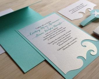 Beach Wedding Invitation - Destination Wedding Invitation - Wave Wedding Invitation - Nautical Wedding Invitation - Nautical - Weddings