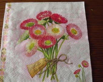 bouquet of pink Daisy paper towel