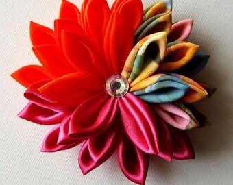Flower Hair Clip - Flower for Hair - Kanzashi Flower - Orange and Pink Hair Flower - Orange and Pink Hair Clip - Hair Clip