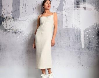 Linen Dress, Beige Dress, long dress, Maxi Dress, Sleeveless dress, Straps Dress, Minimalist Dress, summer dress, UrbanMood - UM-186-LN