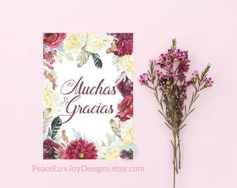 DIGITAL CARD Muchas Gracias Card Thank You Card Watercolour Floral Wedding Thanks Bridal Thanks Birthday Thanks Blank Note Cards Note Card