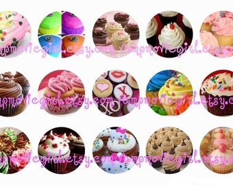 INSTANT DOWNLOAD...Yummy Cupcakes 1 Inch Circle Images Collage Sheet for Bottle Caps ...Buy 3 get 1