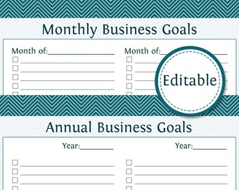 Monthly & Annual Business Goals - Fillable - Business Planner - Printable Organizational PDF - Instant Download