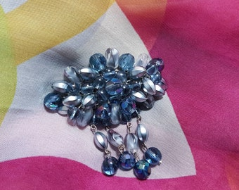 Vintage brooch with Lucite and glass beads, faceted cut, Made in Germany stamped in the back, Grey Blue tones