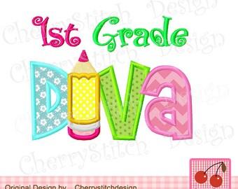 "1st Grade Back to School Machine Embroidery Applique Design -4x4 5x5 6x6"""