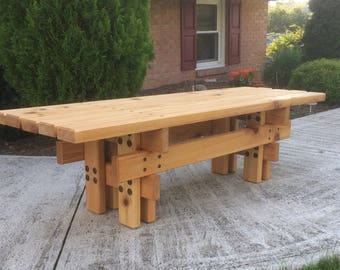 Japanese Style Cedar Garden Bench