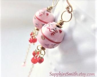 KITTY KITTY Pink Ceramic Maneki-Neko Cat Bead Earrings, Red Ethiopian Welo Opal, Bali Gold Vermeil, Handpainted Art Beads,