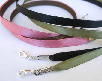 "5pcs Satin Cord Necklaces Black Brown Red Orange Blue Pink Olive 14"" 16"" 17"" 18"" 19"" 20"" 22"" 24"" 26"" 28"" 30"" Long Handmade in USA"