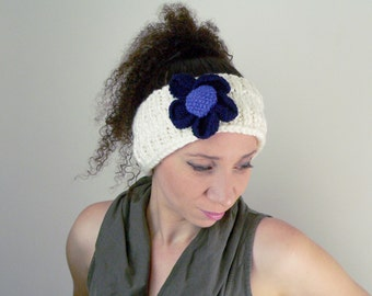 Knitted Head band, Cream with Blue Flower, Earwarmer, Knitted, Gift, Gift for her, Flower, Winterwear, Headband, Knit, Ladies, Girls
