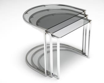 Mid-century chrome nesting tables with smoked glass retro 60s 70s modernist
