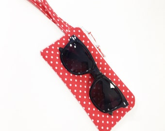Red/White Dots Girls' Zippered Pouch~ Little Lia Sunglasses Pouch ~ Free Shipping in US