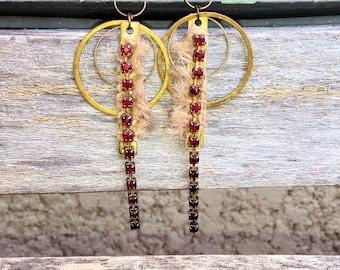 tribal urban Bohemian - burlap geometries rhinestone earrings