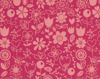 Fabric patchwork flowers Sunny happy skies for Riley Blake pink
