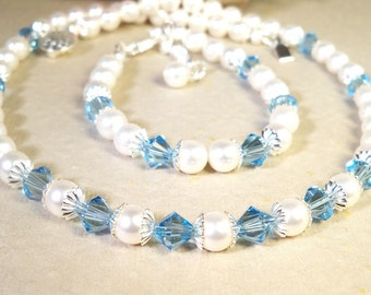 Blue Crystal,  Necklace and Bracelet Set, Aquamarine Blue, Flower Girl Jewelry, Toddler Girl Jewelry, Pearls, March Birthstone, Kids Jewelry