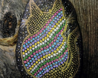 Sparkle Cat Painted River Stone